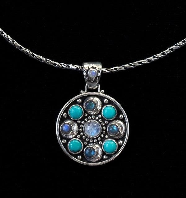 Multi-Gemstone Moon Orbit Necklace