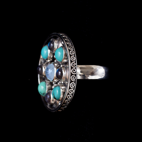 Multi-Gemstone Moon Orbit Ring with Moonstone.