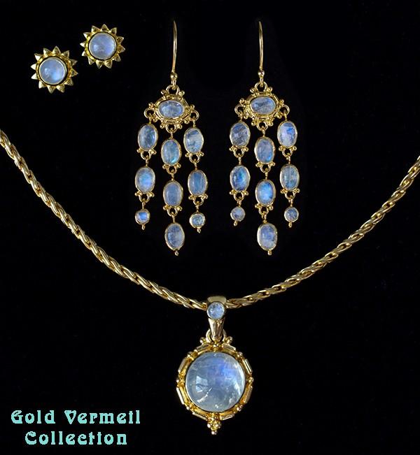 Rainbow Moonstone 18K Gold Vermeil Jewelry
