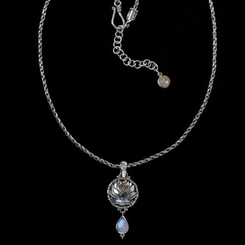 Rainbow Moonstone Lotus Necklace