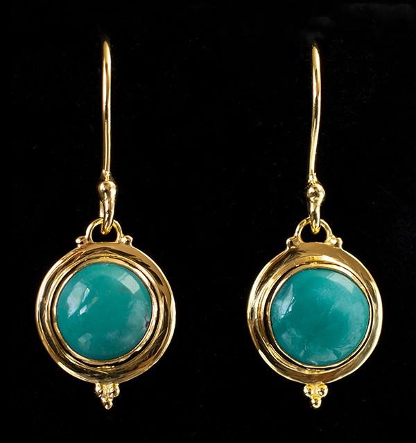 Tibetan Turquoise Gold Earrings