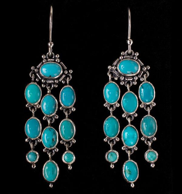 Sterling Silver Tibetan Turquoise Chandelier Earrings