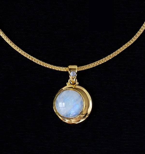 Gold Rainbow Moonstone Crescent Moon Necklace