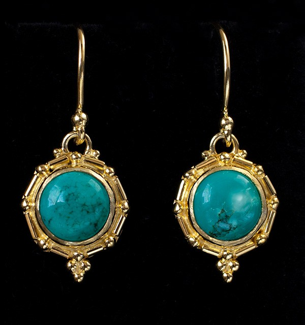 Gold Tibetan Turquoise Earrings