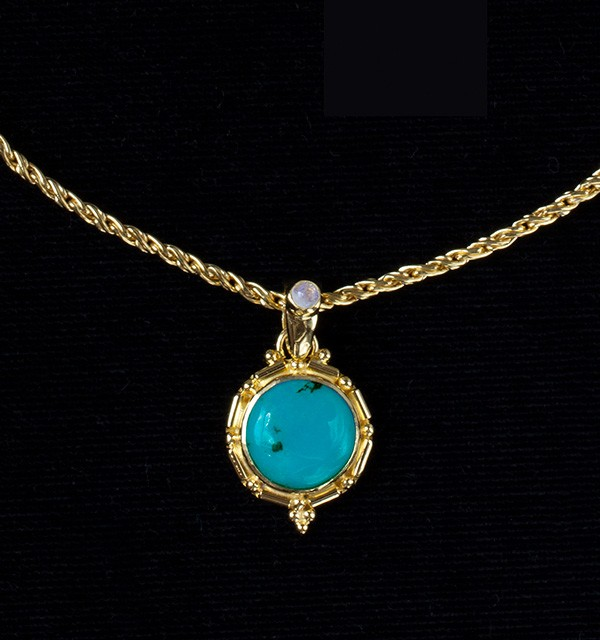 Gold Turquoise & Moonstone Necklace