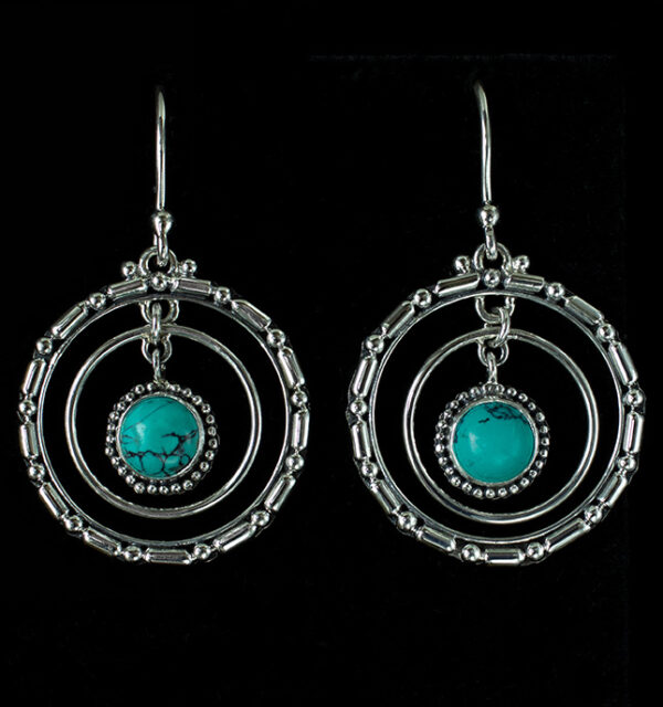 Sterling Silver Tibetan Turquoise Hoop Earrings