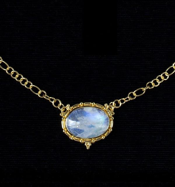 Rainbow Moonstone Gold Necklace