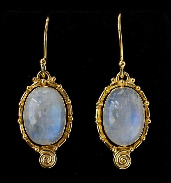 Gold Rainbow Moonstone Balinese Earrings