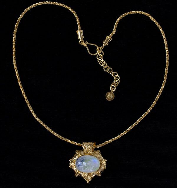 Gold Rainbow Moonstone Pendant Necklace