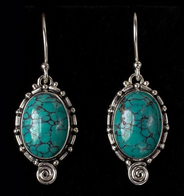 Sterling Silver Tibetan Turquoise Drop Earrings