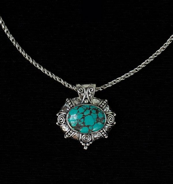 Silver Tibetan Turquoise Pendant Necklace