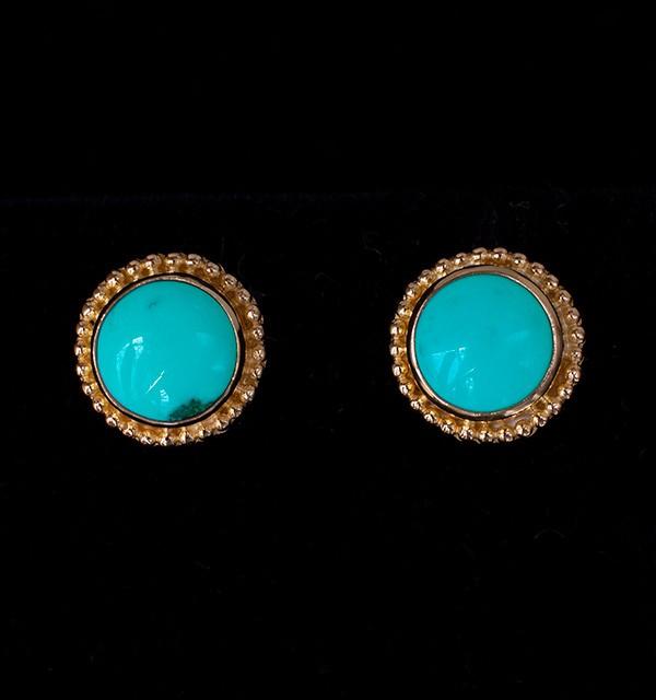 Gold Tibetan Turquoise Stud Earrings