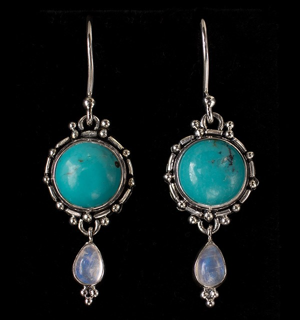 Silver Turquoise & Moonstone Dangle Earrings