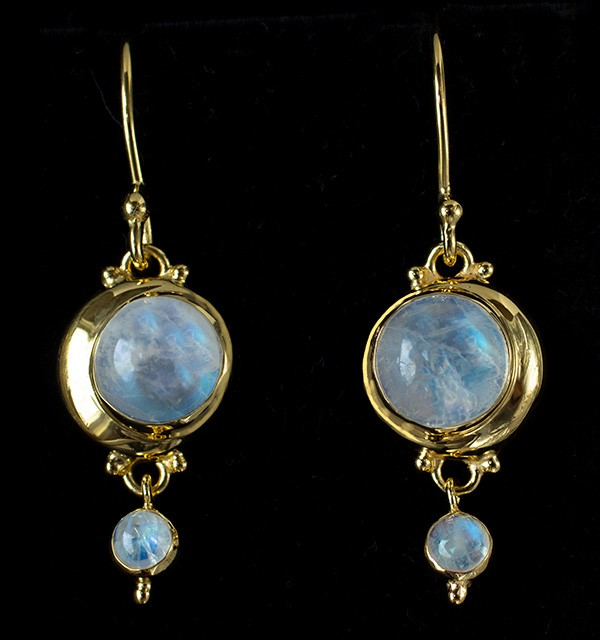 Gold Rainbow Moonstone Crescent Moon Earrings