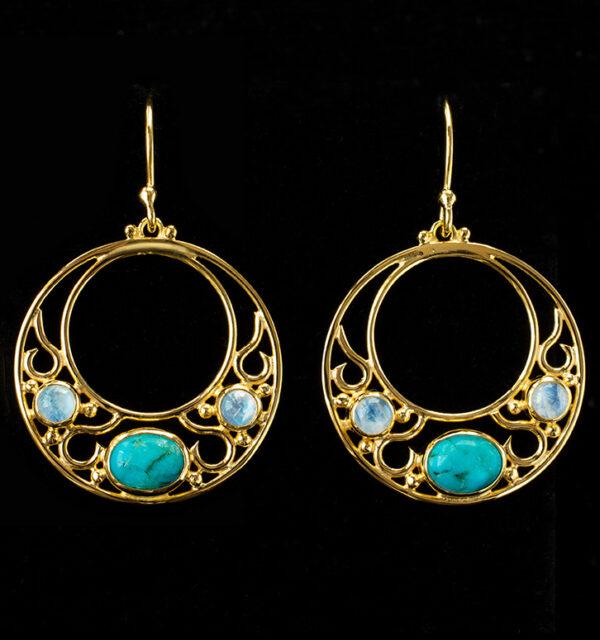 Gold Turquoise & Rainbow Moonstone Hoop Earrings