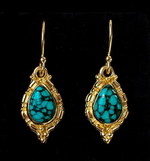 Gold Tibetan Turquoise Teardrop Earrings