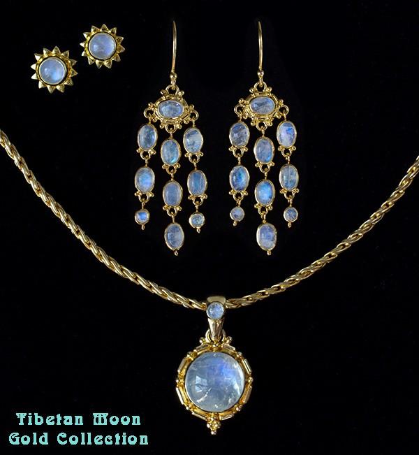 Rainbow Moonstone Gold Jewelry