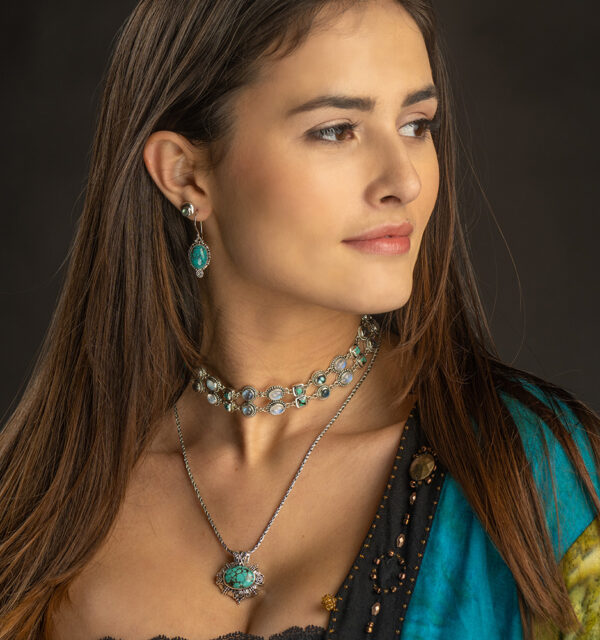 Sterling Silver Tibetan Turquoise Necklace