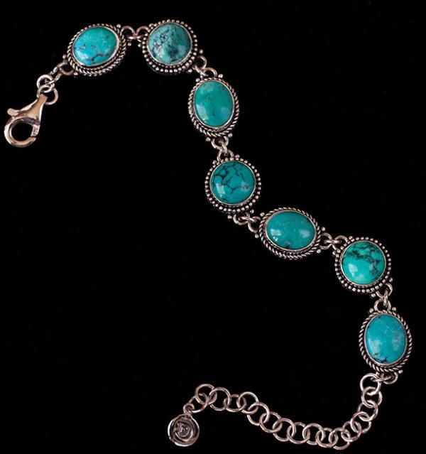 Sterling Silver Tibetan Turquoise Bracelet