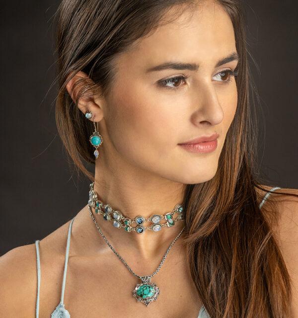 Sterling Silver Turquoise & Moonstone Dangle Earrings