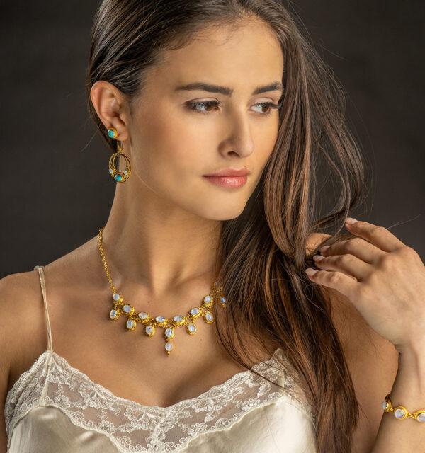 Gold Victorian Rainbow Moonstone Necklace